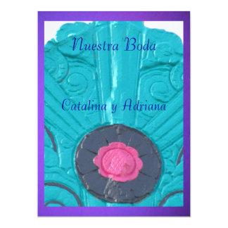 """Invitación - Nuestra Boda - Azul y púrpura 6.5"""" X 8.75"""" Invitation Card"""