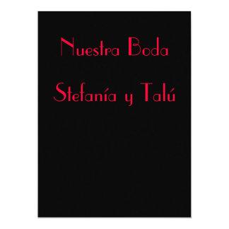 """Invitación - Nuestra Boda - Negra y roja 6.5"""" X 8.75"""" Invitation Card"""