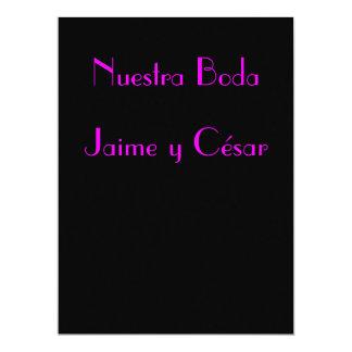 """Invitación - Nuestra Boda - Negra y rosa 6.5"""" X 8.75"""" Invitation Card"""