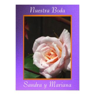 """Invitación - Nuestra Boda - Púrpura y naranja 6.5"""" X 8.75"""" Invitation Card"""