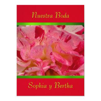 """Invitación - Nuestra Boda - Roja, verde y rosa 6.5"""" X 8.75"""" Invitation Card"""