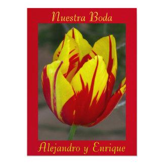 """Invitación - Nuestra Boda - Roja y Amarilla 6.5"""" X 8.75"""" Invitation Card"""
