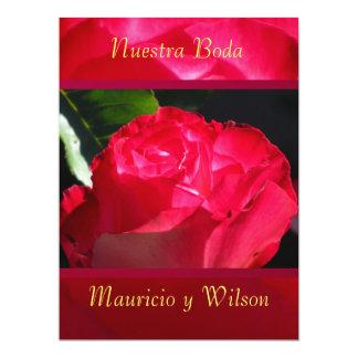 """Invitación - Nuestra Boda - Rosa roja 6.5"""" X 8.75"""" Invitation Card"""