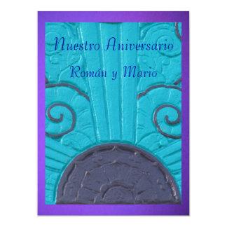 """Invitación - Nuestro Aniversario - Azul y púrpura 6.5"""" X 8.75"""" Invitation Card"""