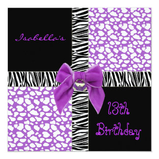 Invitation 13th Teen Birthday Purple Cow Animal