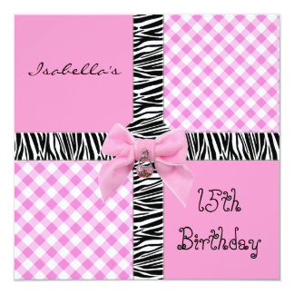 Invitation 15th Teen Birthday Wild Pink Check