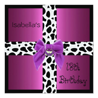 Invitation 18th Teen Birthday Wild Pink Animal