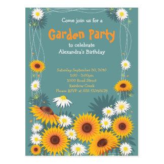 Invitation 2 de fête d'anniversaire de jardin de carte postale
