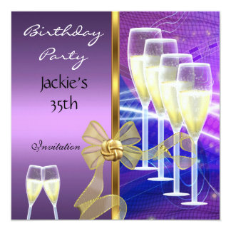 Invitation 35th Birthday Party Elegant Purple Gold
