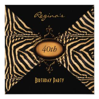 Invitation 40th Birthday Party Wild Animal Black