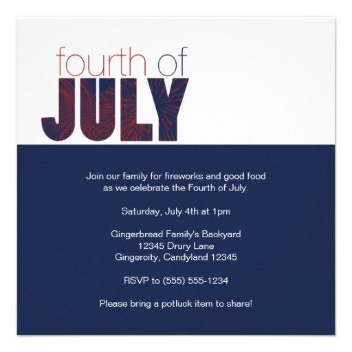 Invitation 4 juillet de partie