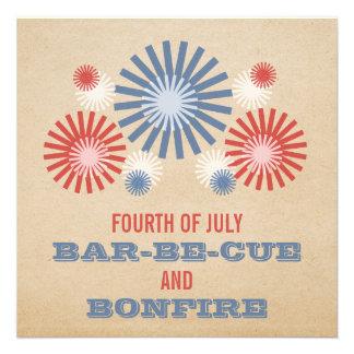 Invitation 4 juillet génial de feux d'artifice