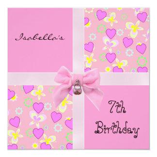 Invitation 7th Teen Birthday Pink Hearts Bow Invitations