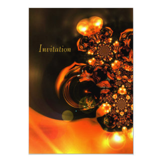 Invitation Abstract Art Orange Jewels