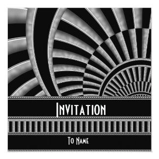Invitation All Occasions Silver Black Art Deco