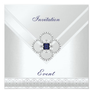 Invitation All Occasions White Blue Silver Jewel