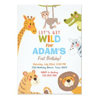 Invitation animale de fête d'anniversaire de