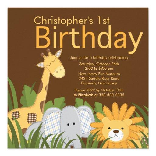 Invitation animale de fête d'anniversaire d'enfant