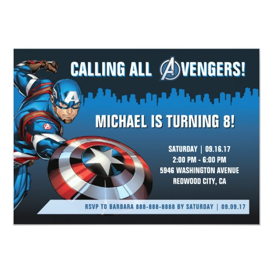 Invitation Anniversaire De Captain America Zazzle Ca