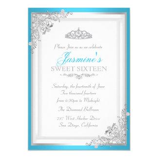 Invitation argentée bleue du bonbon 16 à damassé