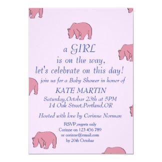 invitation baby girl shower bears