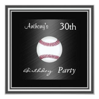 Invitation Baseball  30th Birthday Party  silver