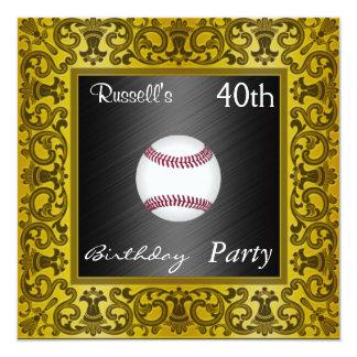 Invitation Baseball 40th Birthday Party  Gold Invites