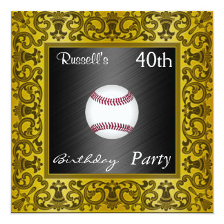 Invitation Baseball 40th Birthday Party  Gold
