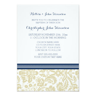 Invitation beige bleue de baptême de damassé