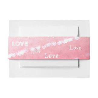 Invitation Belly Band with Pink Love Design.