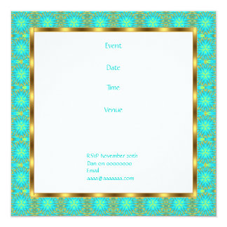 Invitation Birthday Aqua & Gold Patchwork