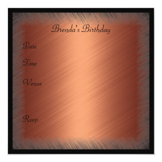 Invitation Birthday Frayed Copper Rust and Black