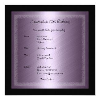 Invitation Birthday Glamour Purple Personalized Invite