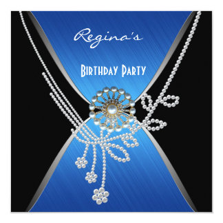 Invitation Birthday Party Black Blue Silver Pearl