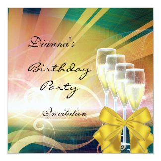Invitation Birthday Party Elegant Modern Green Gol