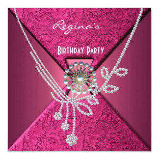 Invitation Birthday Party Pink Silver Pearl