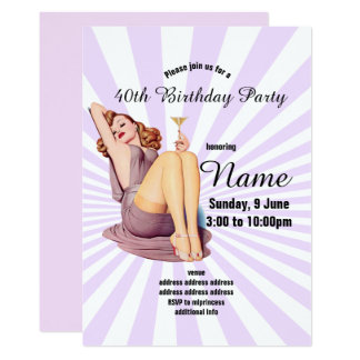 invitation, Birthday Party, vintage pinup girl Card