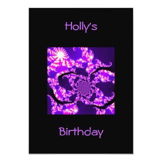 "Invitation Birthday Purple Haze on Black 5"" X 7"" Invitation Card"