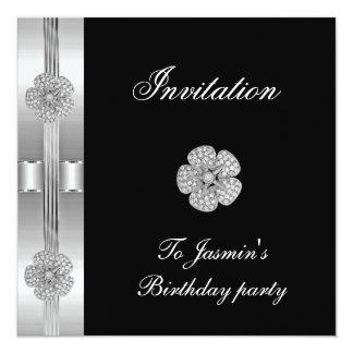 Invitation Black Silver Diamond flower Jewel