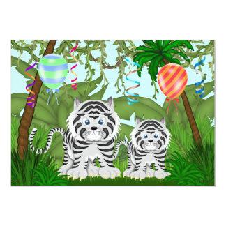 Invitation blanche de baby shower de tigre de