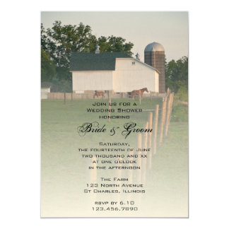 Invitation blanche de wedding shower de grange de