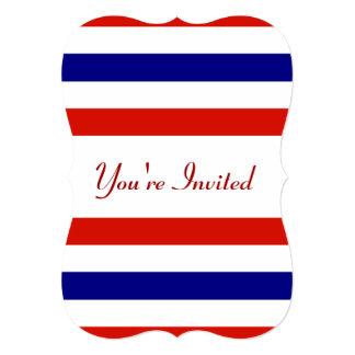 Invitation blanche et bleue rouge de partie