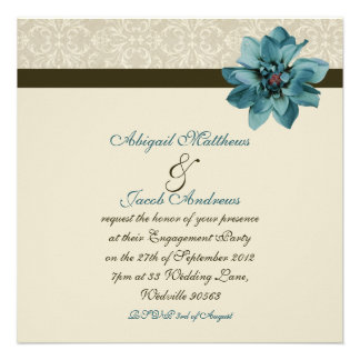 Invitation bleu brun chocolat et turquoise de fian