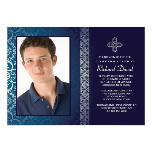 Invitation bleue brillante de photo (horizontale)