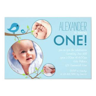 Invitation bleue d'anniversaire de bébé d'oiseaux carton d'invitation  12,7 cm x 17,78 cm