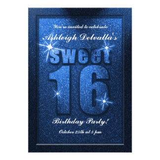 Invitation bleue de fête d'anniversaire du bonbon