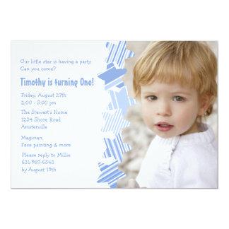 Invitation bleue de photo d'étoile d'anniversaire carton d'invitation  12,7 cm x 17,78 cm