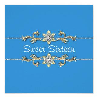 Invitation bleue turquoise de sweet sixteen de