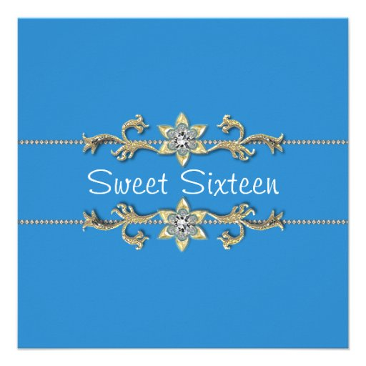 Invitation bleue turquoise de sweet sixteen de dia