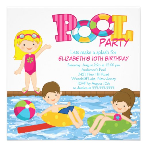 Invitation blonde de réception au bord de la pisci